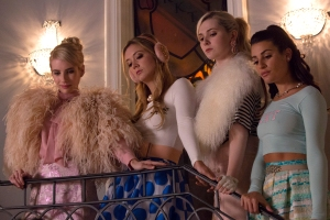 SCREAM QUEENS: Pictured L-R: Emma Roberts as Chanel Oberlin, Billie Lourd as Chanel #3, Abigail Breslin as Chanel #5 and Lea Michele as Hester in the